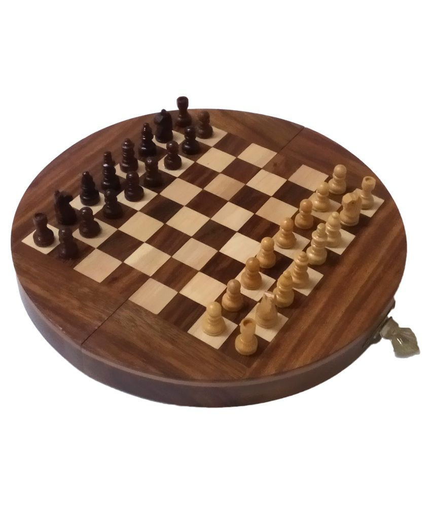 Aps Craft Brown Sheesham Wood Magnetic Chess Board