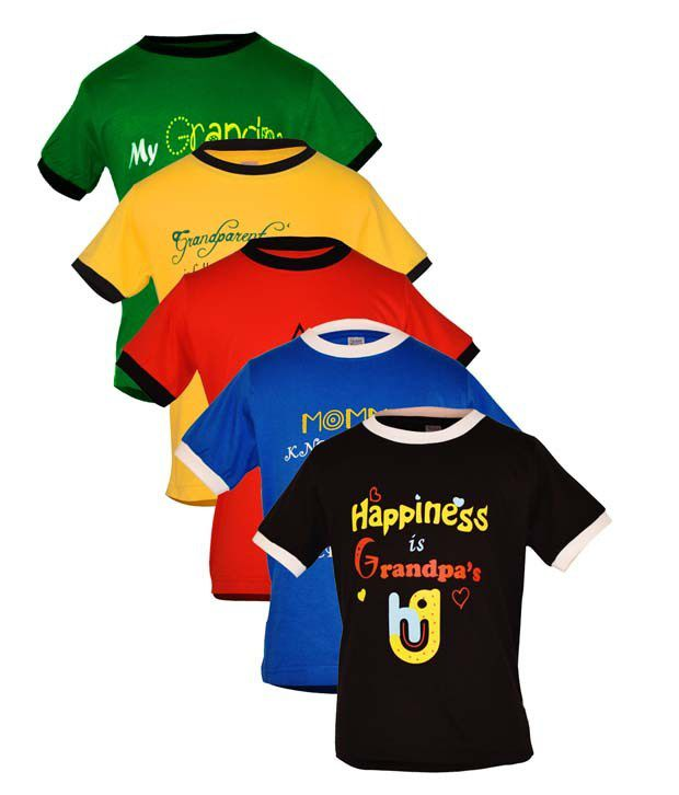 Goodway Multicolor Cotton Tshirts - Pack Of 5