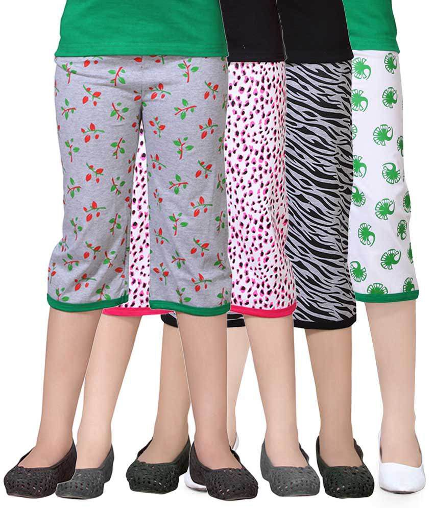 Sinimini Multicolour Capri For Girls Pack Of 4