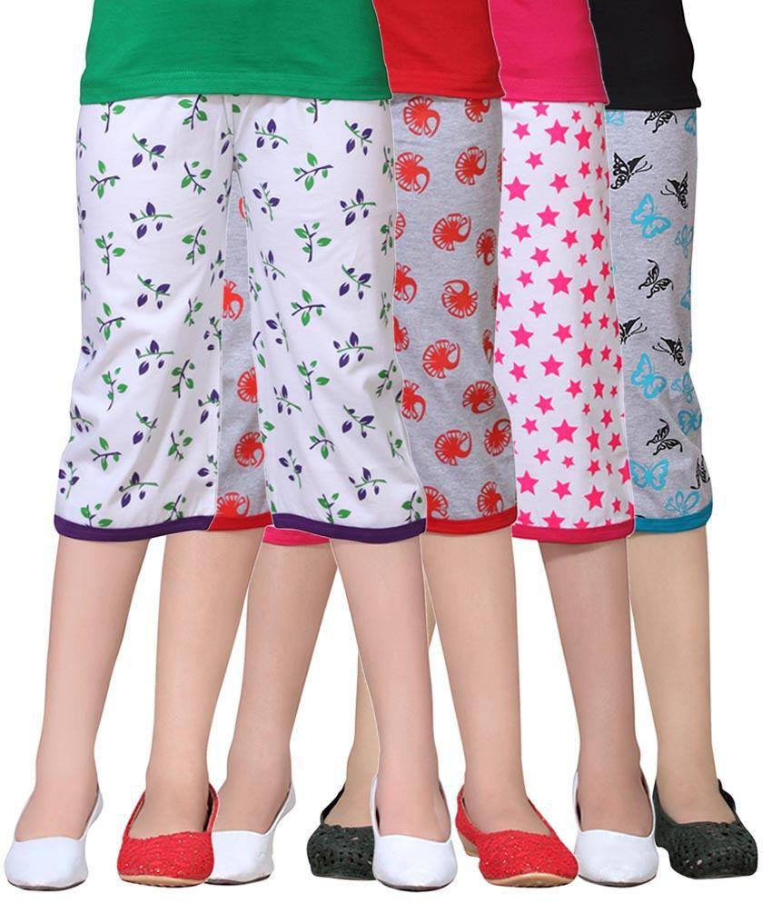 Sini Mini Multicolour Capri For Girls Pack Of 4