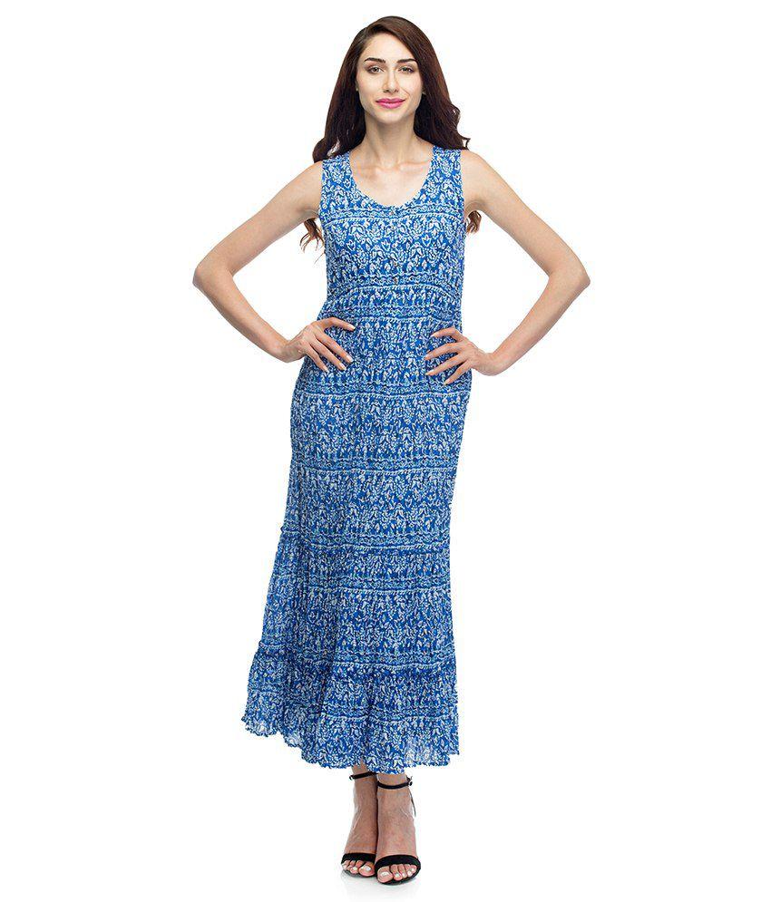 Oxolloxo Blue Cotton Maxi Dress - Buy Oxolloxo Blue Cotton Maxi ...