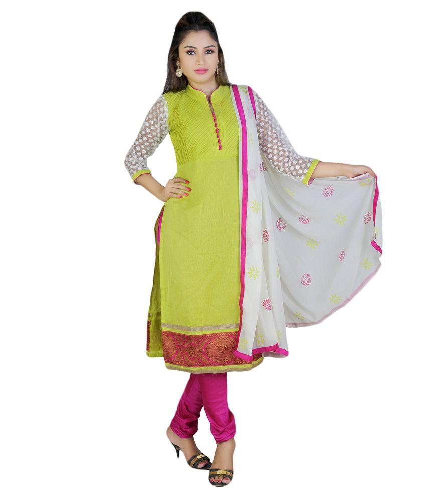 Pc Chandan Creation Green Chanderi Stitched Suit