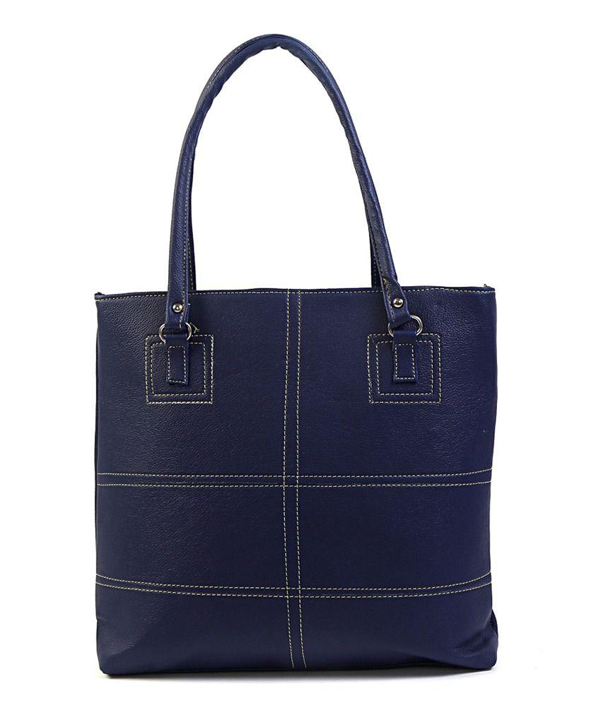Rassberry Navy Blue Leather Shoulder Bag