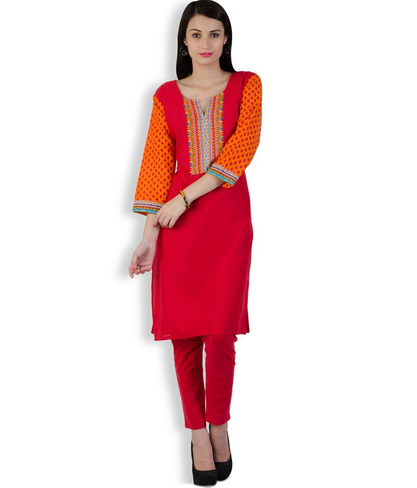 Spanishtree Red Cotton Kurti