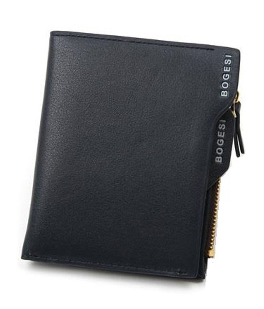 Bogesi Black Leather Wallet For Men