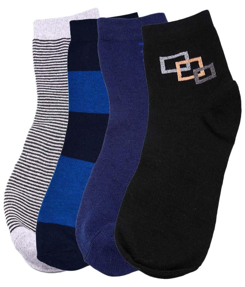 Tossido Multicolour Pack of 4 Pairs of Cotton Socks for Men