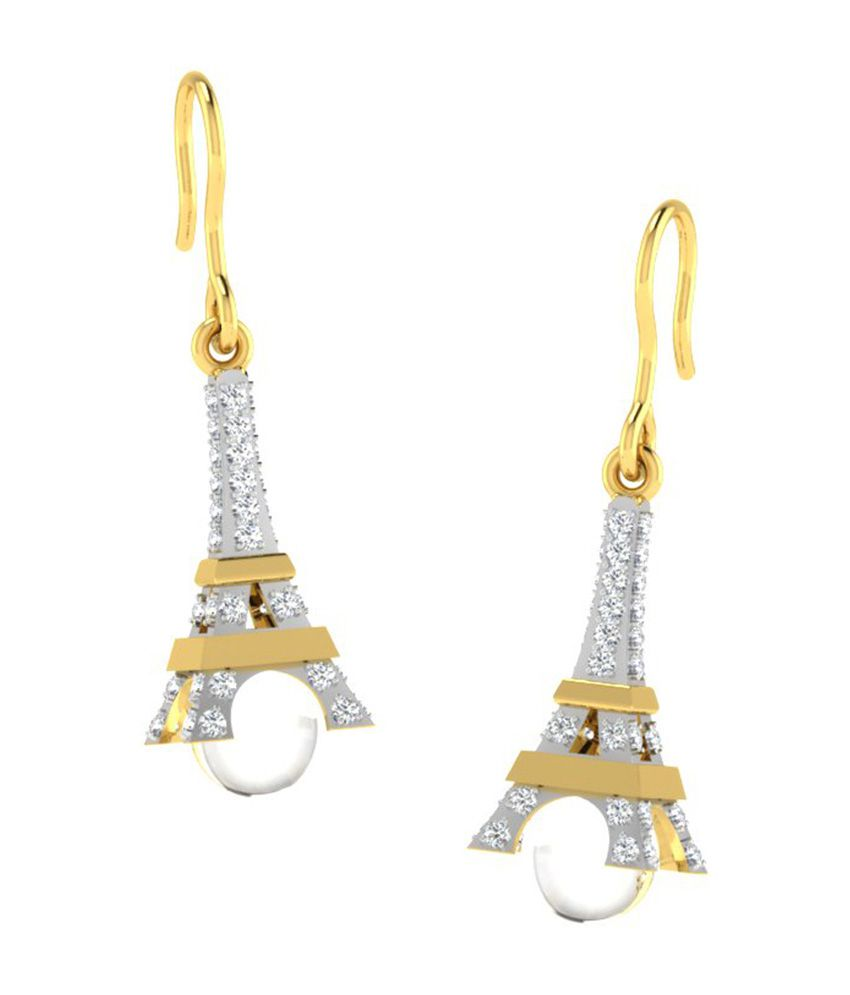 Sparkles 18kt Gold Hanging Earrings with Real Diamonds