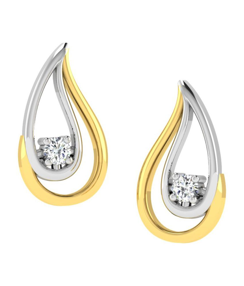 Sparkles 18kt Gold Stud Earrings with Real Diamonds