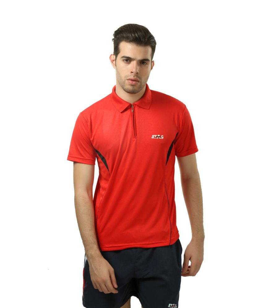 Stag Red Polyester T-shirt