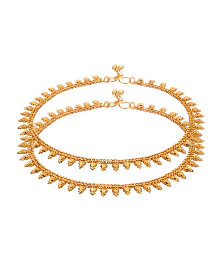 Voylla Gold Toned Pair of Anklets
