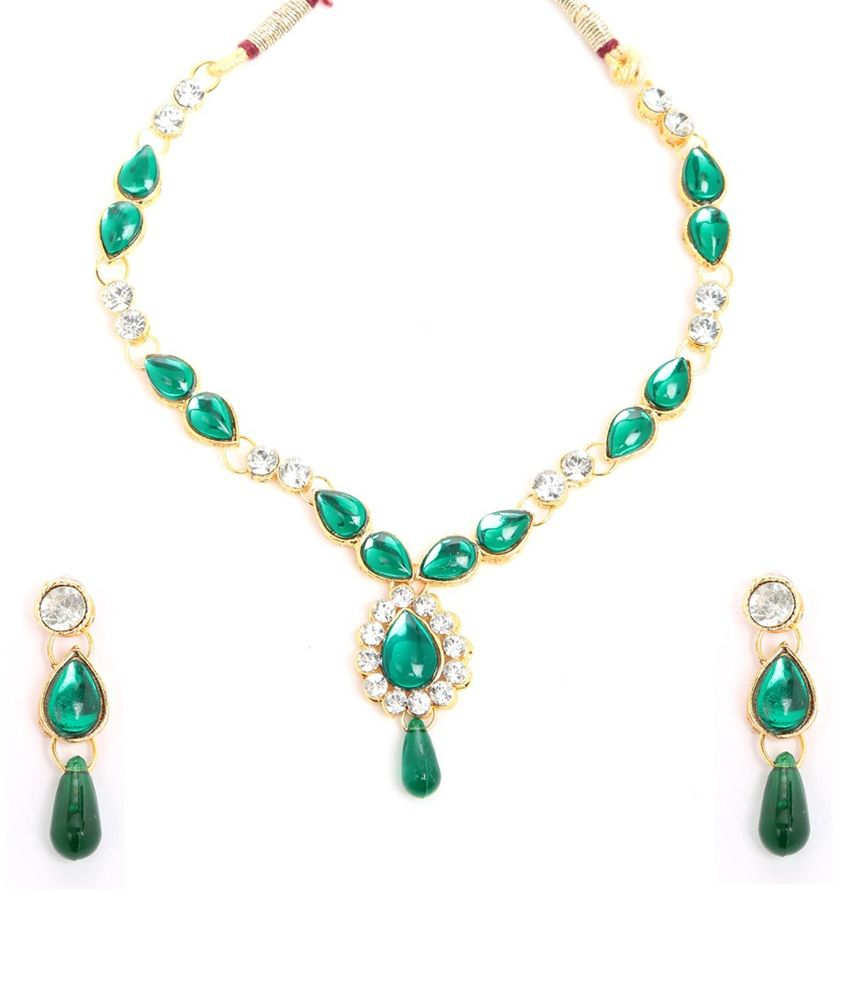 Pretty Green Traditional Kundan Necklace and Set by GoldNera