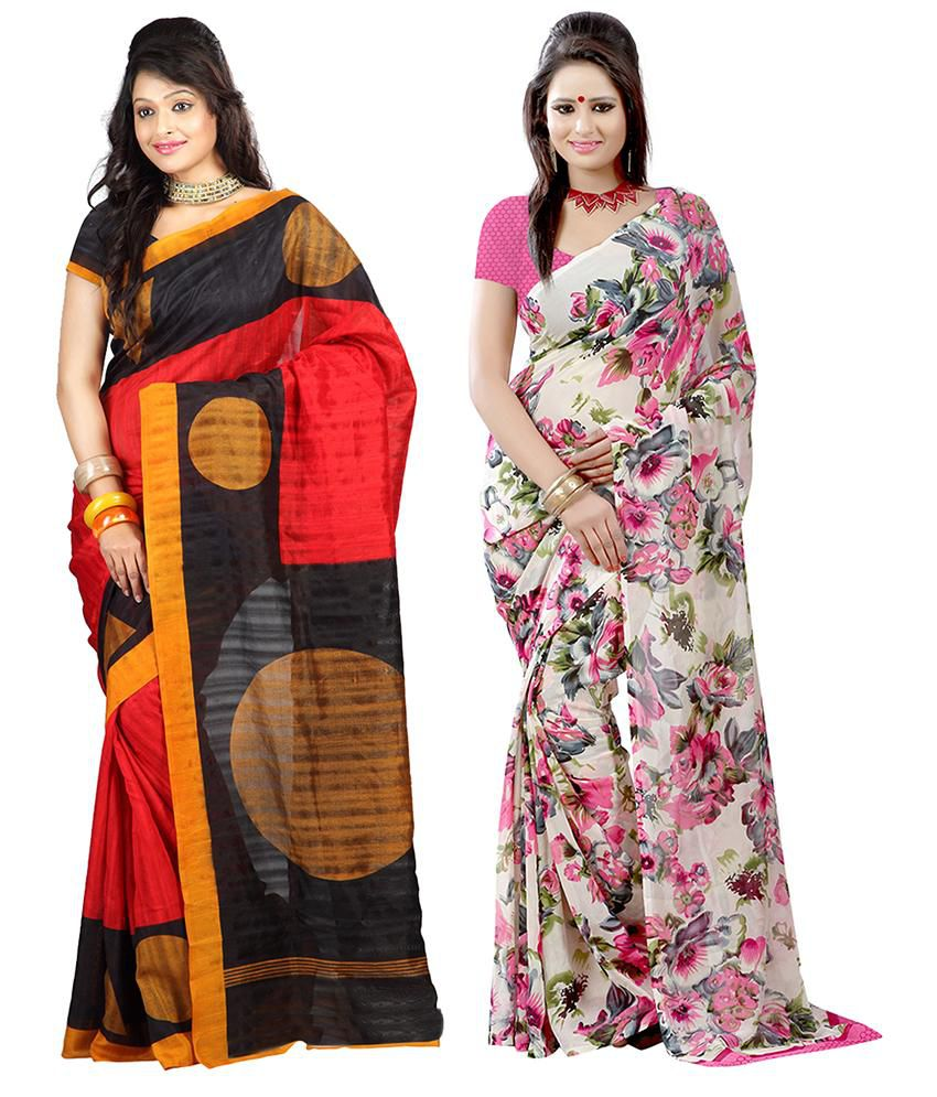 Lookslady Multicolor Bhagalpuri Silk Pack Of 2