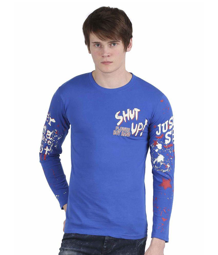 Tease Denim Blue Cotton T-shirt