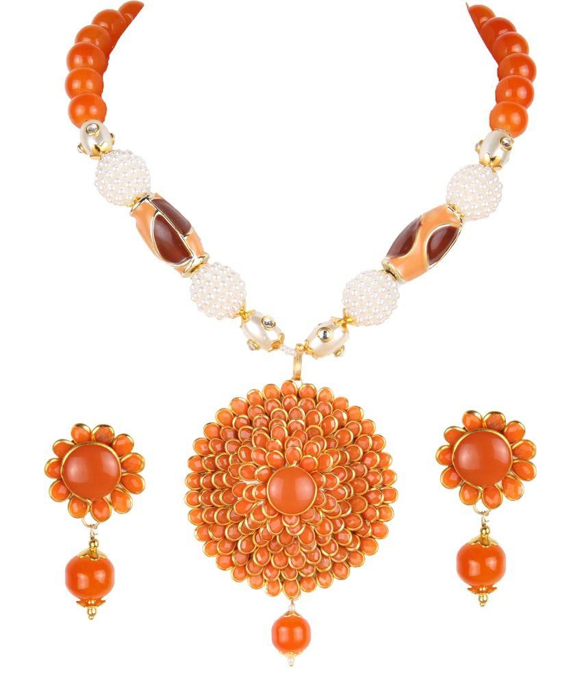 Makezak Orange Contemporary Floral Pendant With Chain
