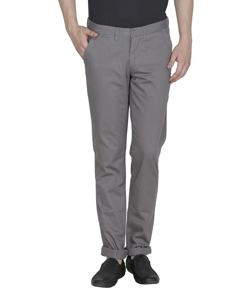 United Colors Of Benetton Grey Slim Fit Casual Trouser Chinos