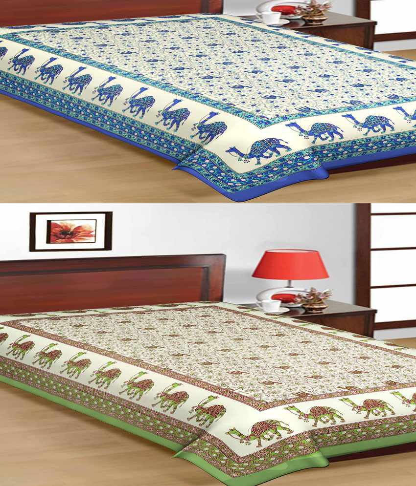 UniqChoice Pure 100% Cotton Jaipuri Traditional Printed 2 Single Bed Sheet Combo
