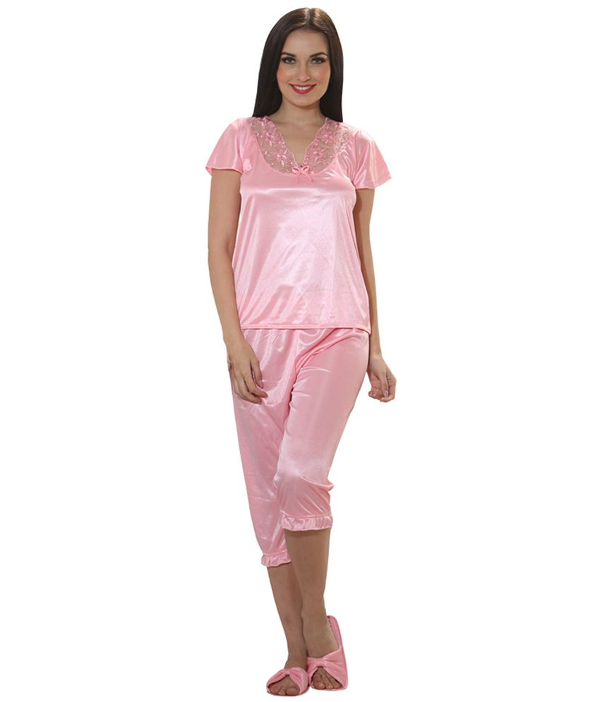 Buy Clovia Pink Satin Nighty   Night Gowns Pack of 9 Online at Best ... b9666f9e4