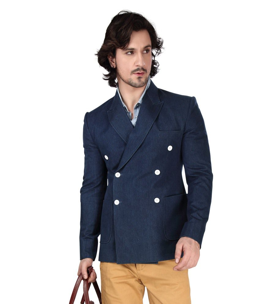 Dheerajsharma Blue Cotton Blend Blazer