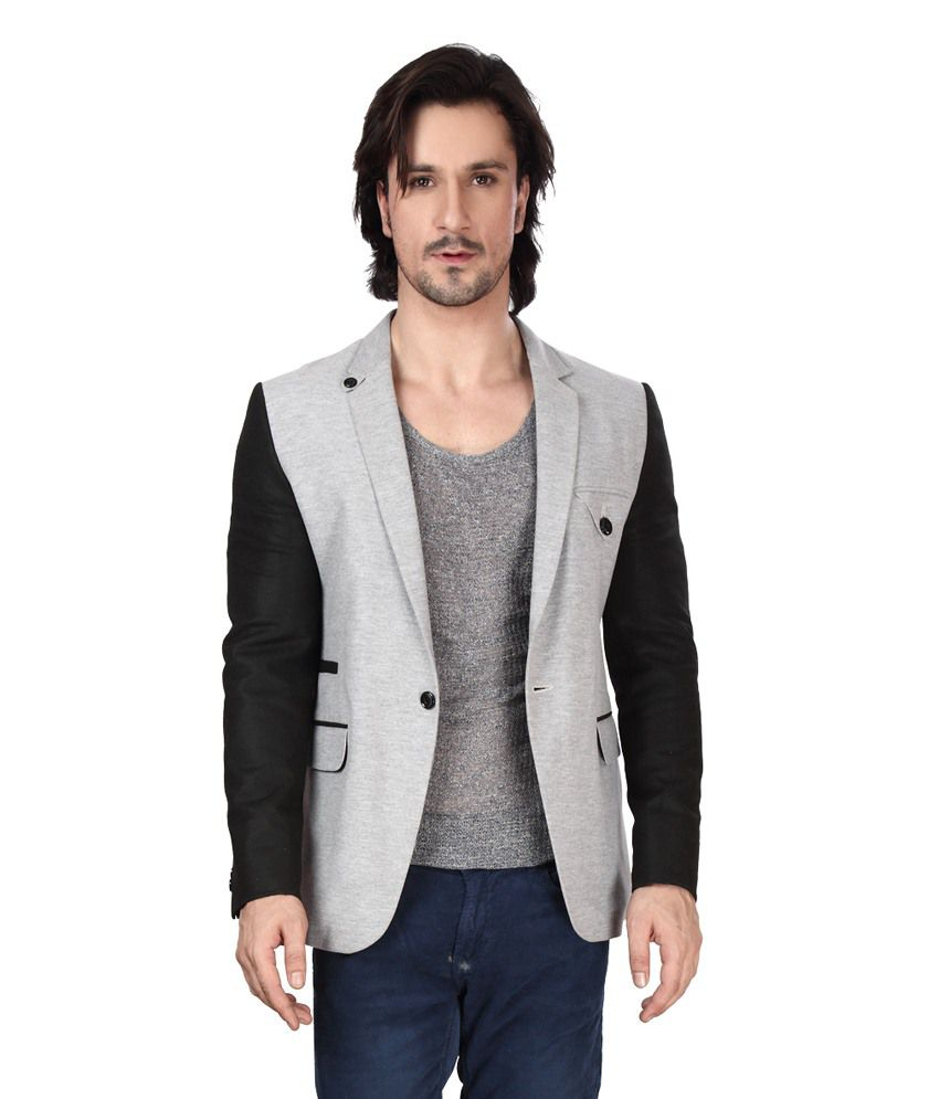 Dheerajsharma Grey Cotton Blend Blazer