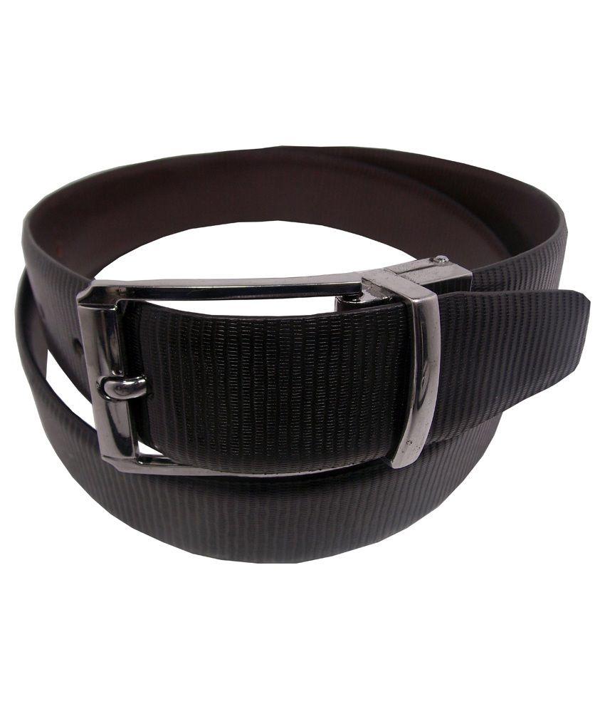 Ekora Black Leather Pin Buckle Reversible Belt