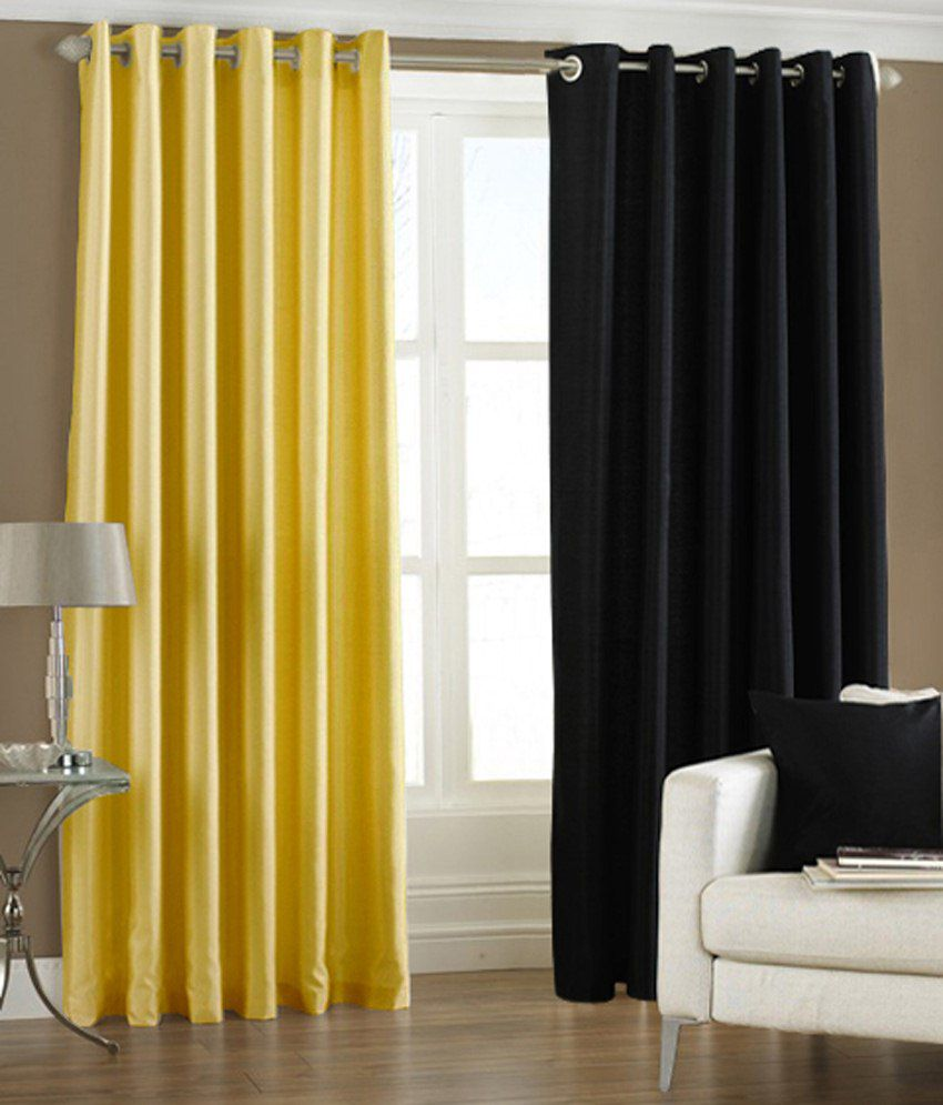 Homefab India Set of 2 Window Eyelet Curtains Solid Red