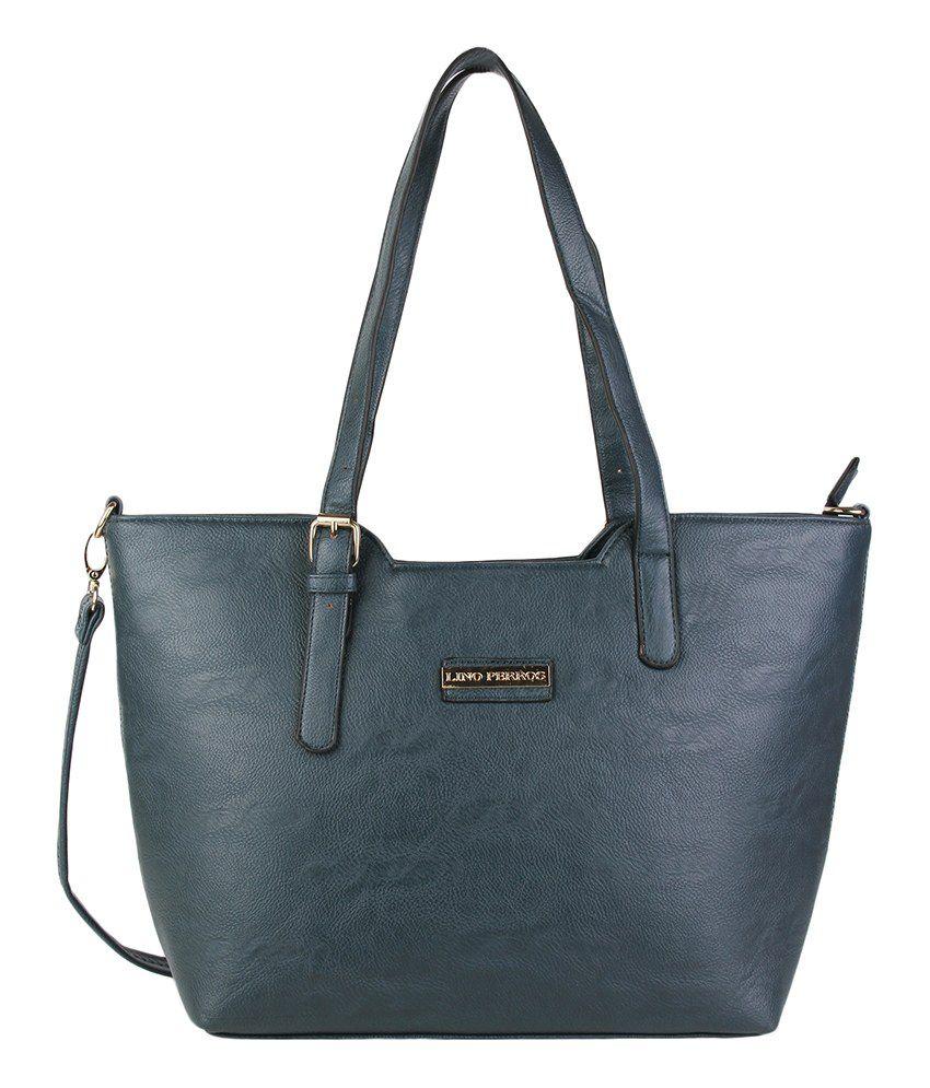 Lino Perros Blue Leatherite Ladies Shoulder Handbag