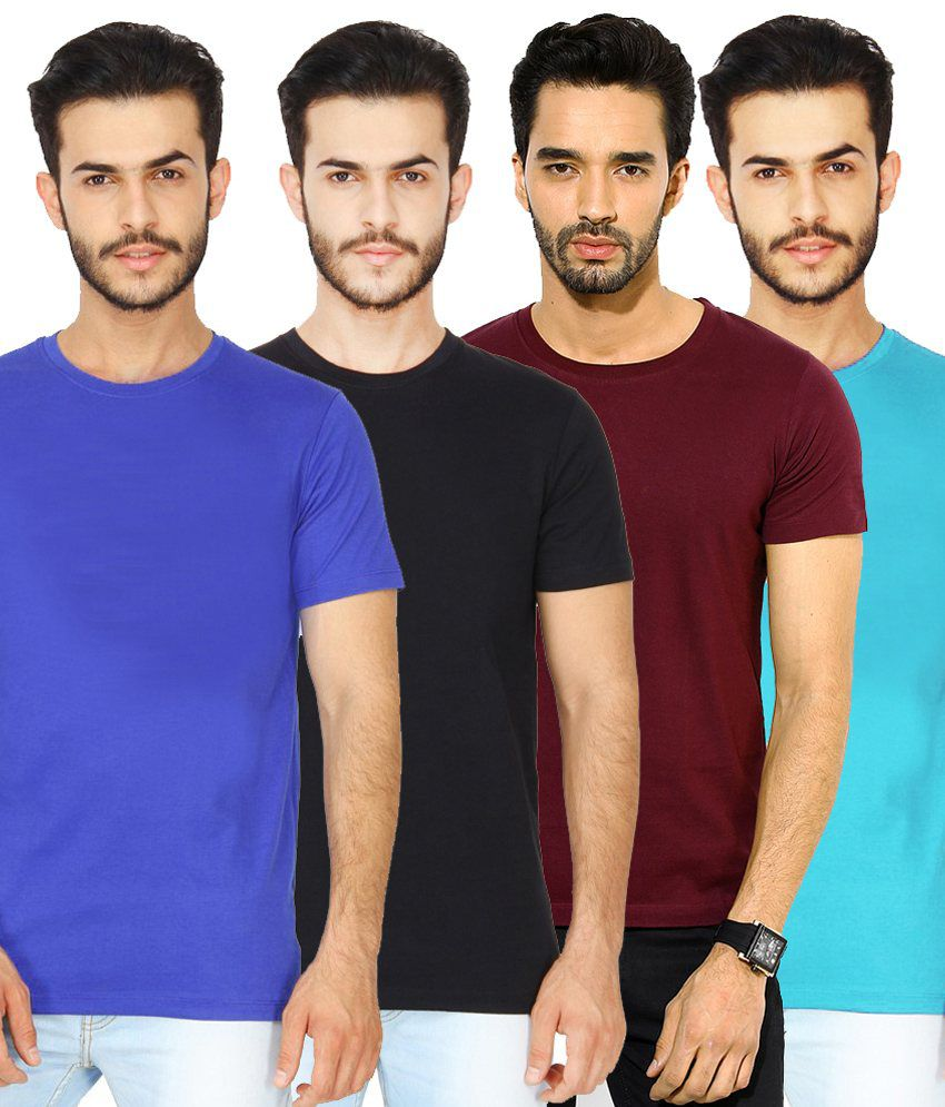 London Police Multicolor Cotton T-Shirt - Set Of 4