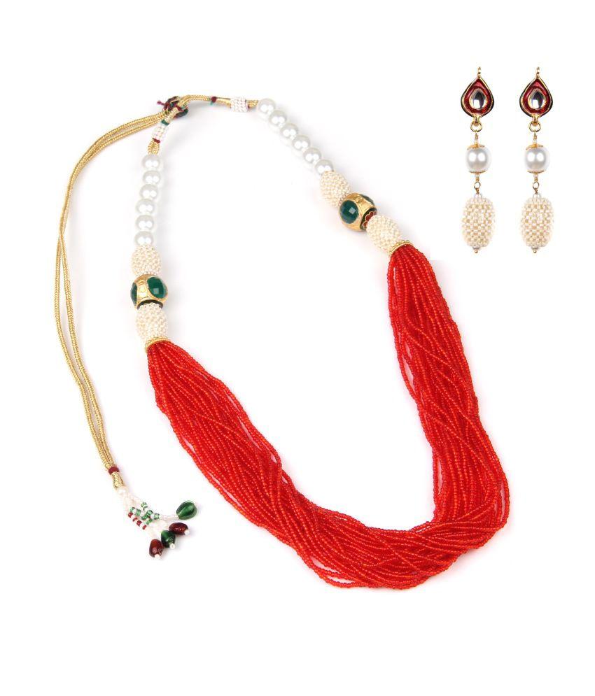 Makezak Colored Crystal Studded Necklace Set