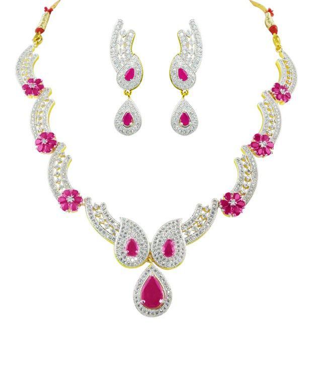 Swanky Multicolour Brass Necklace Set