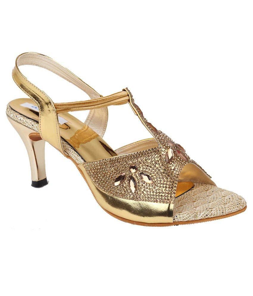 Allinyou Gold Stiletto Heel Sandals