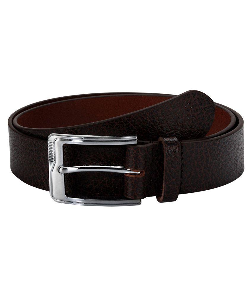 Contrast Men Evening Brown Genuine Leather Belt (Brown-09)