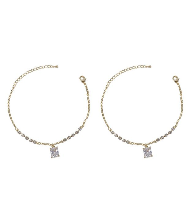Much More Beautiful Gold Plated Crystal Made 1 Pair Fashion Anklet/Payal