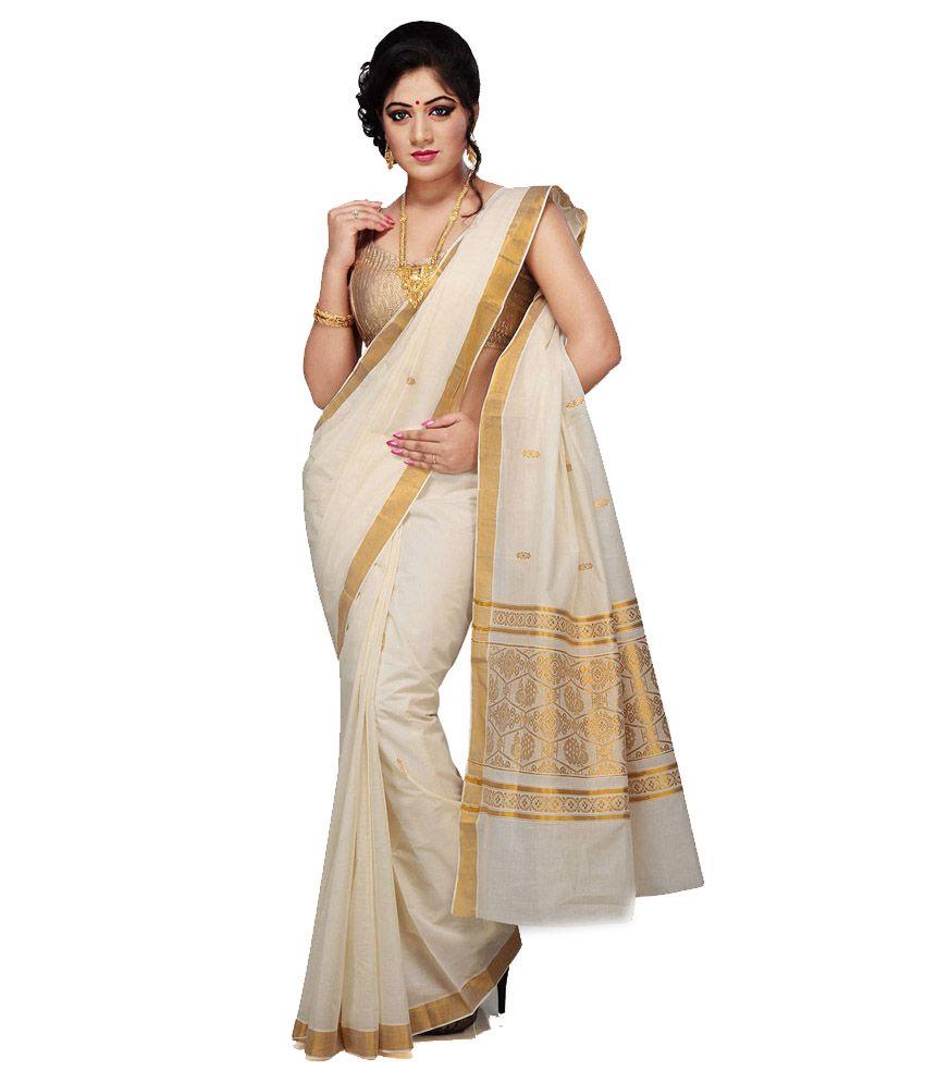 R Selvamani Tex Beige Kerela Cotton Saree Buy Vimala Blouse In White