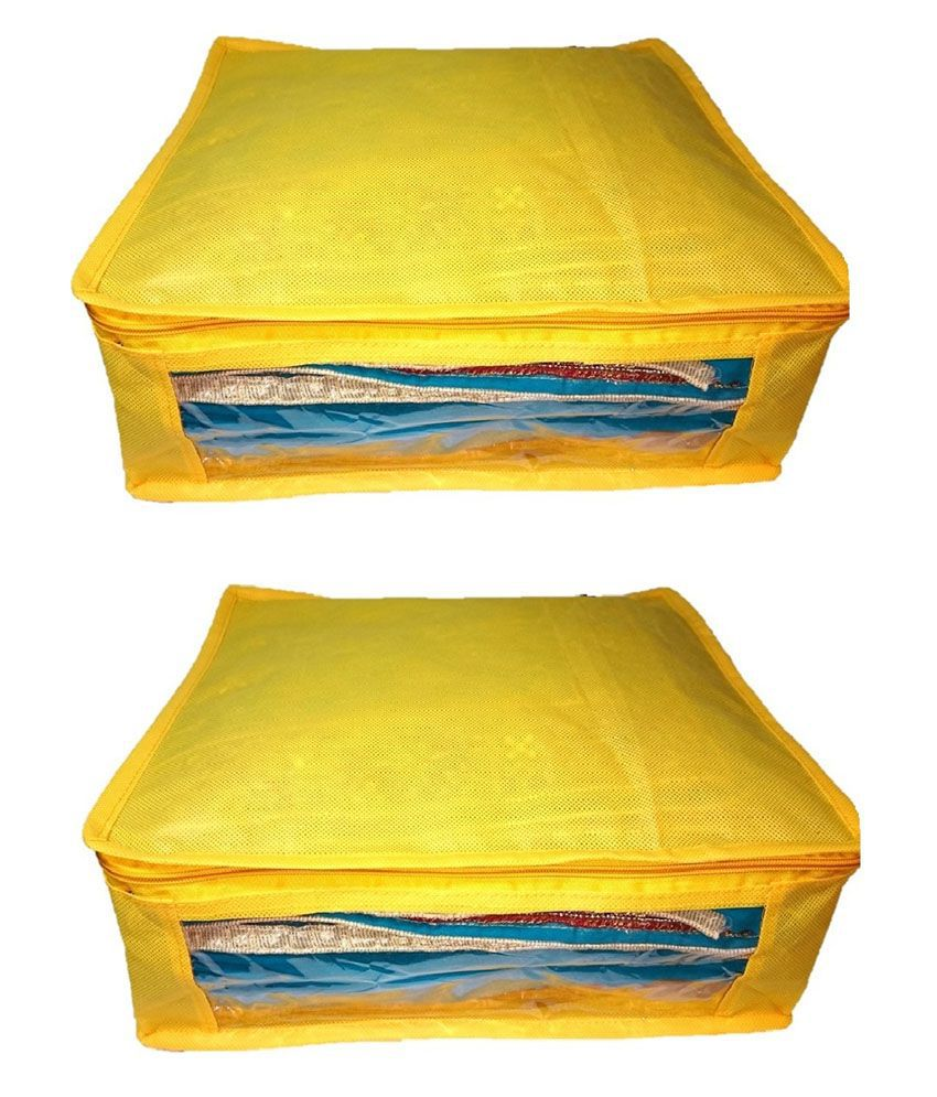 Addyz Yellow Large Non Woven Saree Covers (2 Pcs)
