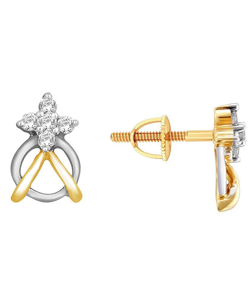 Asmi Shraddha Kapoor 18 Kt Gold & Diamond Floral Stud Earrings