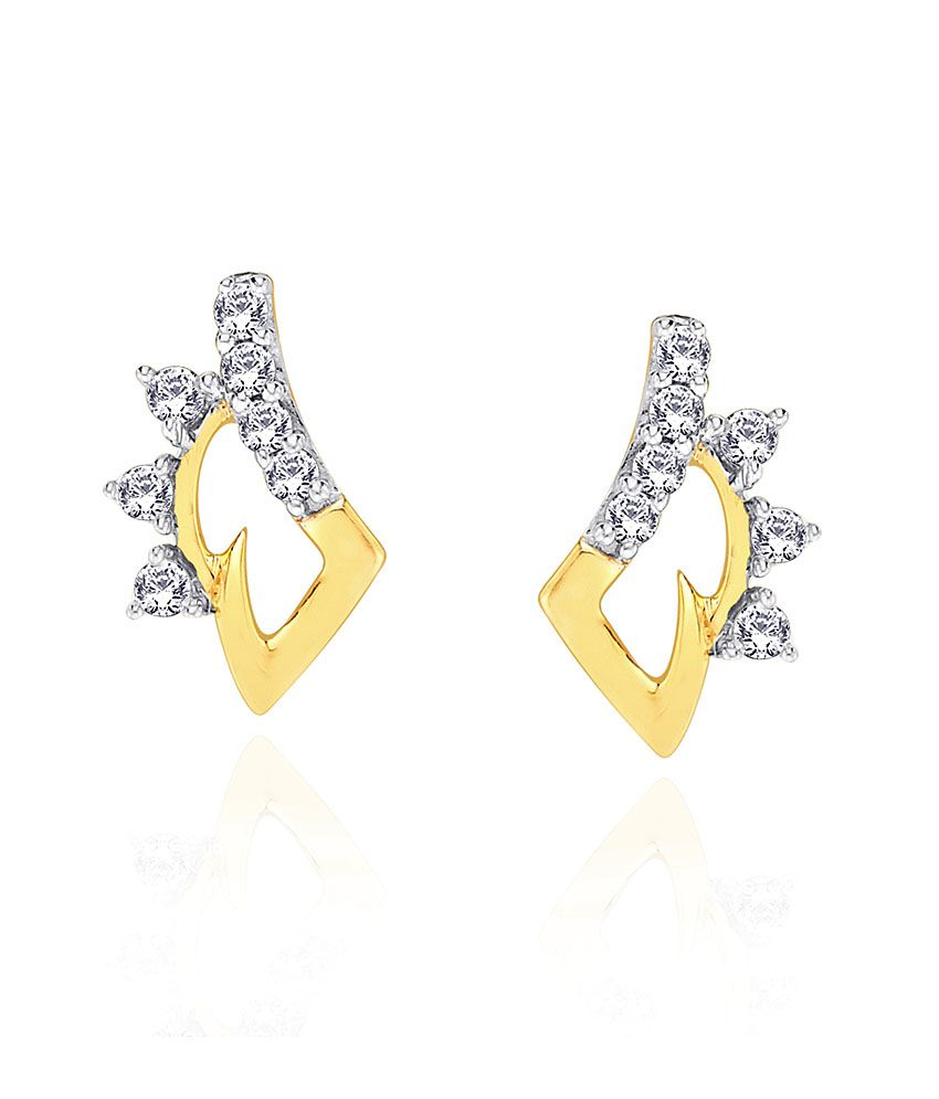 D'damas Shraddha Kapoor 18 Kt Gold & Diamond Contemporary Stud Earrings