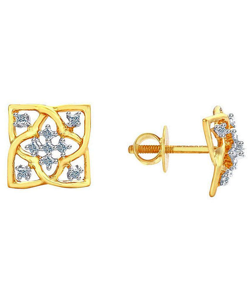 D'damas Shraddha Kapoor 18 Kt Gold & Diamond Floral Stud Earrings