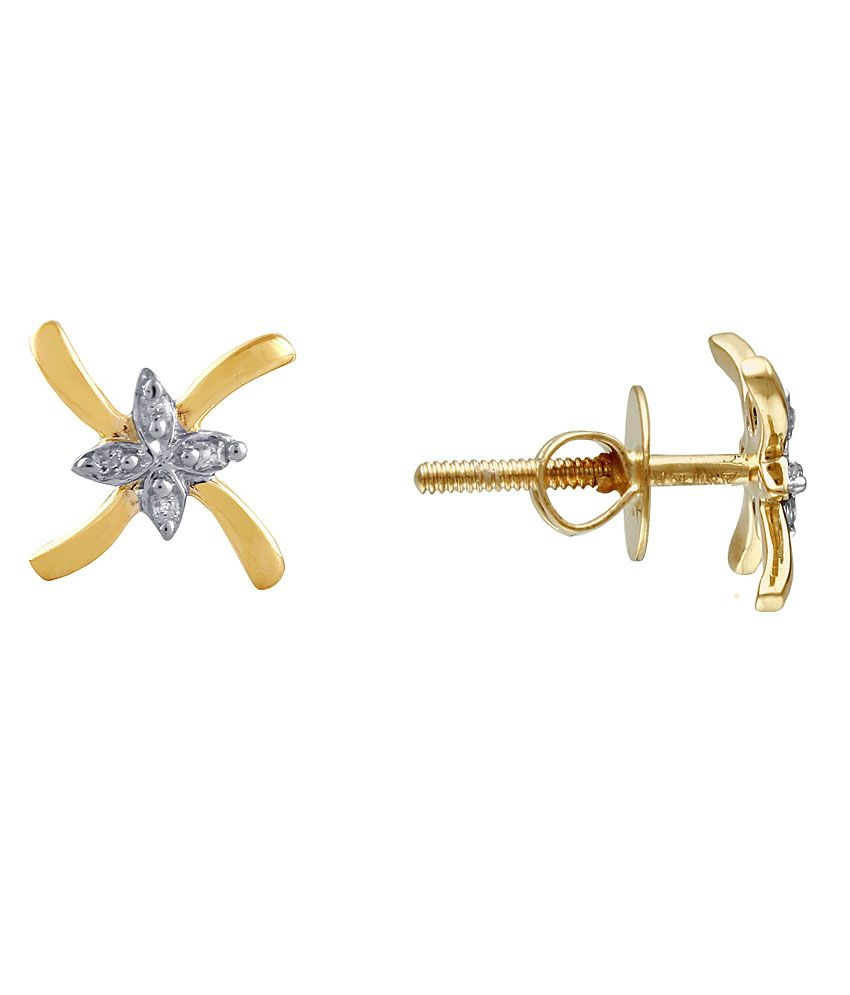 G'Divas Shraddha Kapoor 18 Kt Gold & Diamond Floral Stud Earrings