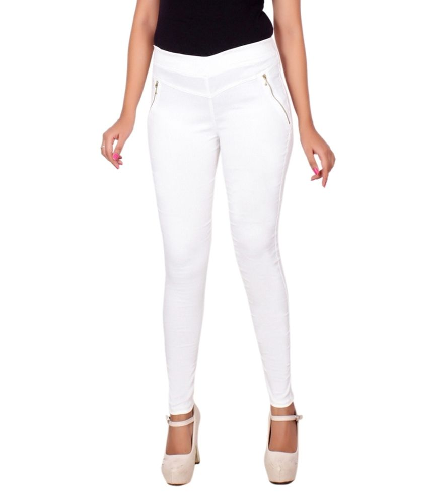 Lgc White Poly Cotton Jeggings