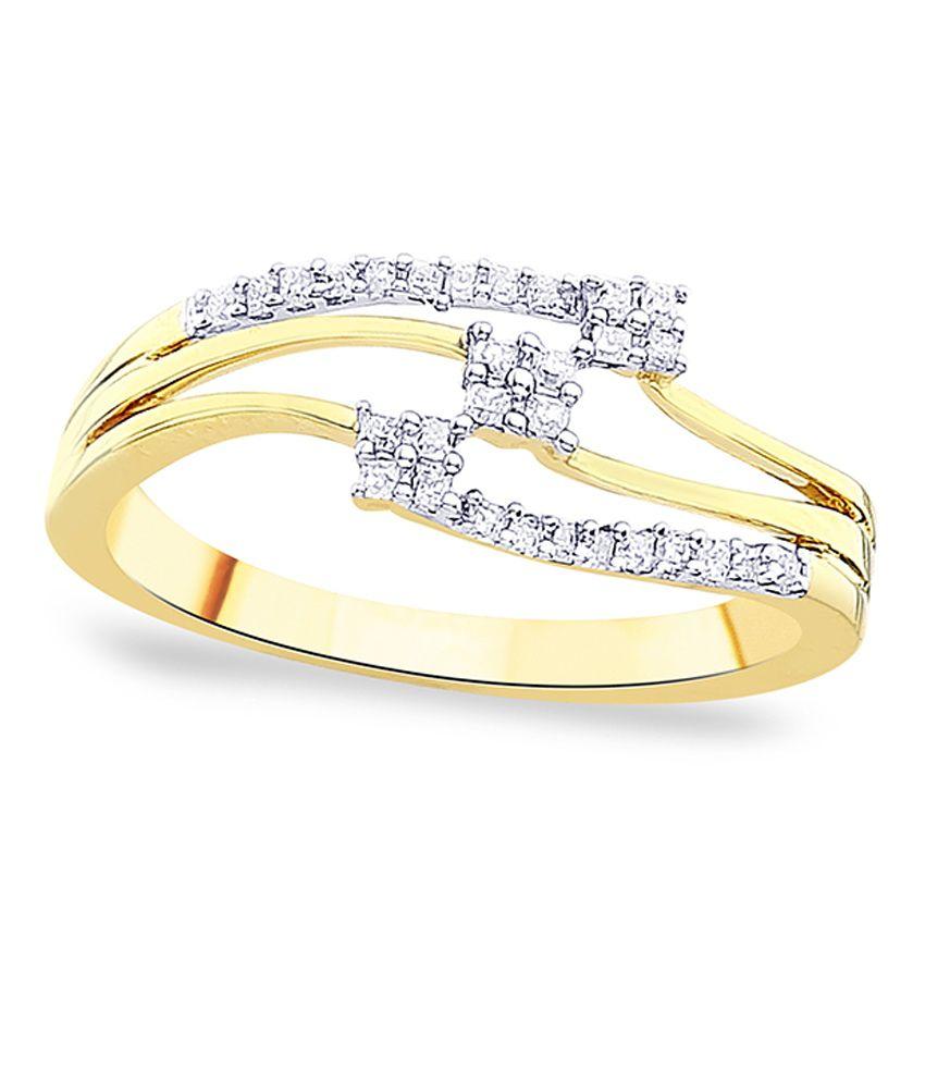 G'Divas Shraddha Kapoor 18 Kt Gold & Diamond Contemporary Ring