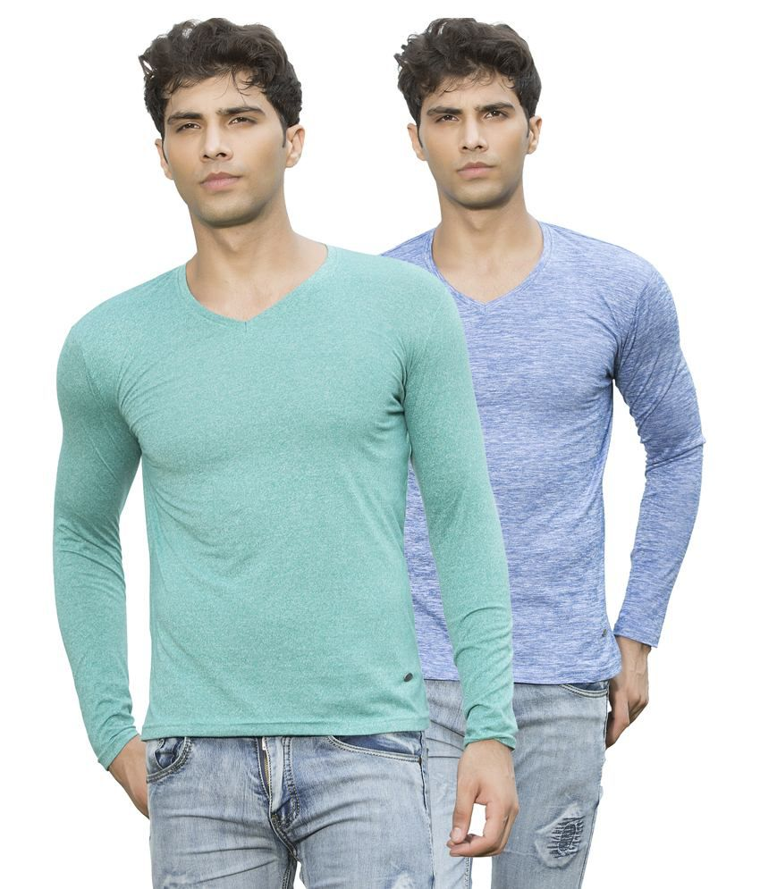 Maniac Multicolour Cotton Blend T-shirt Set Of 2