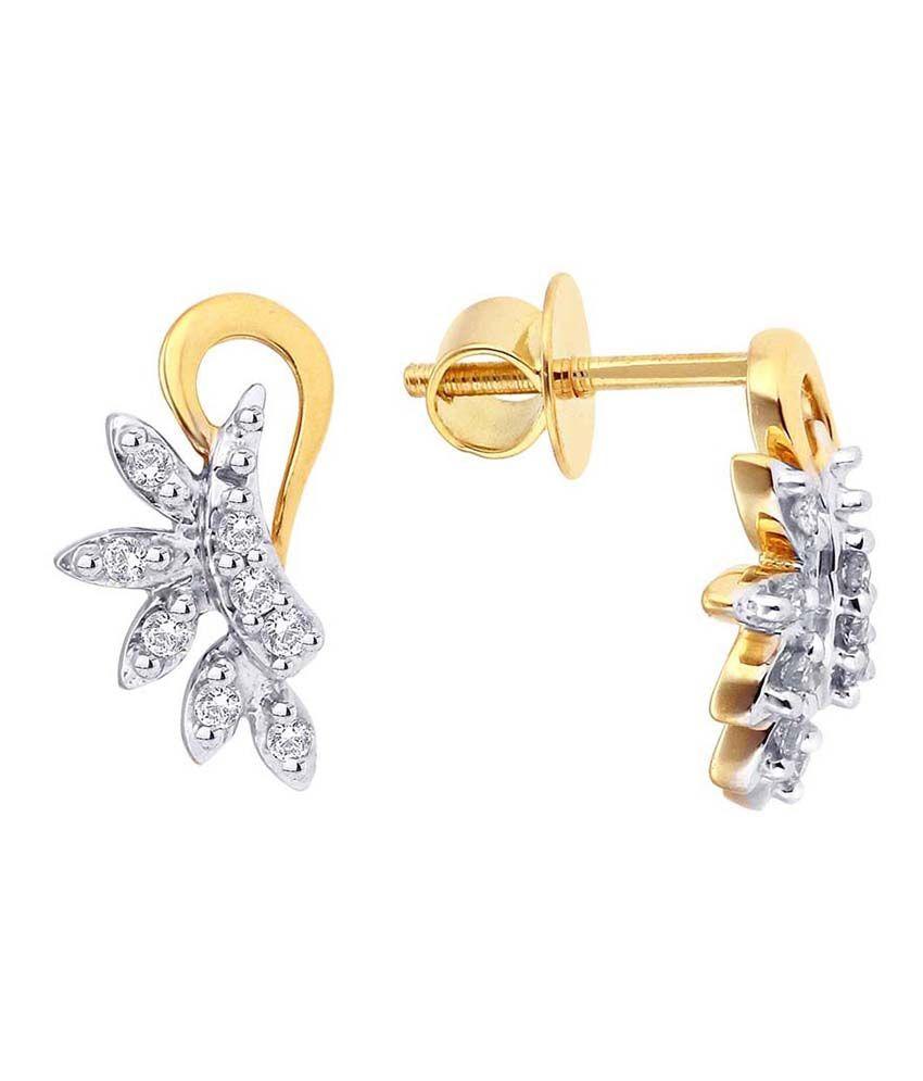 Sangini Shraddha Kapoor 18 Kt Gold & Diamond Floral Stud Earrings