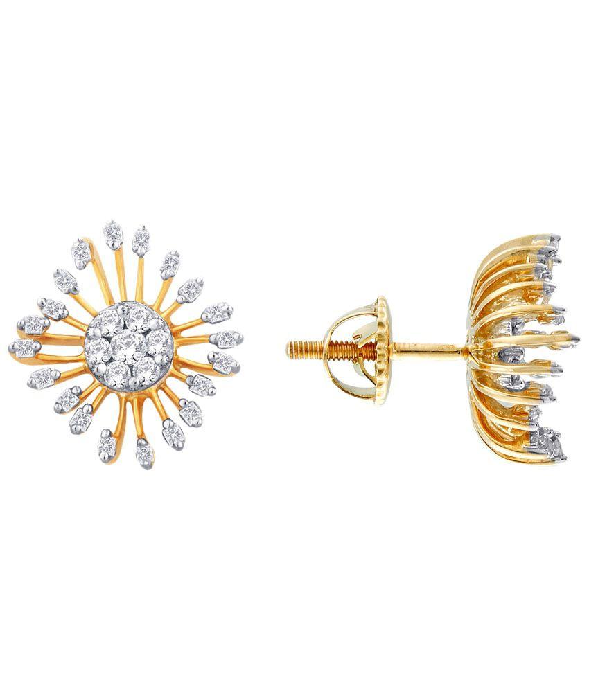 G'Divas 18 Kt Gold & Diamond Contemporary Stud Earrings