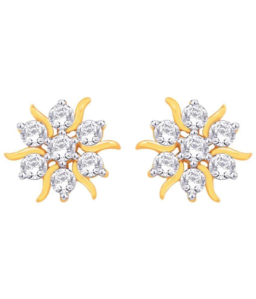 Nakshatra 18 Kt Gold & Diamond Floral Stud Earrings
