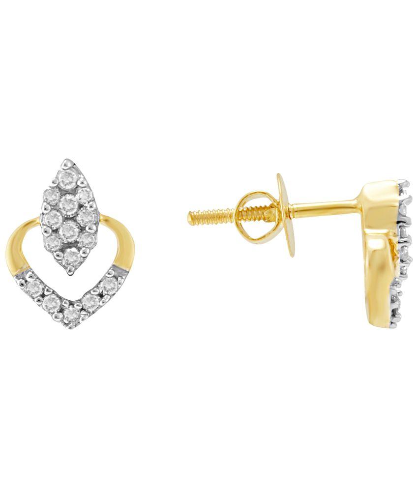 Nirvana 18 Kt Gold & Diamond Contemporary Stud Earrings