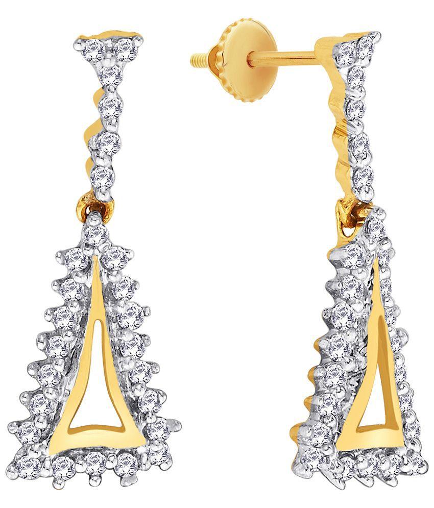 Parineeta 18 Kt Gold & Diamond Contemporary Drop Earrings