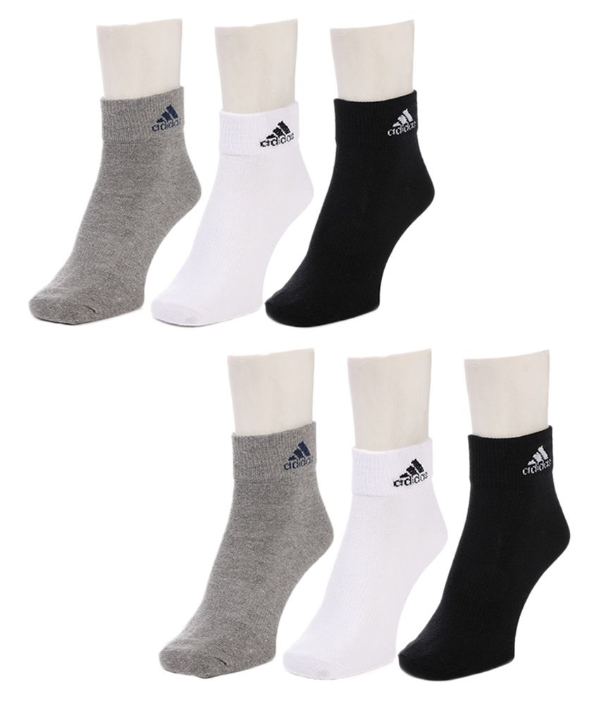 Adidas Multicolor Cotton Ankle Length Unisex Socks - Set Of 6 Pair