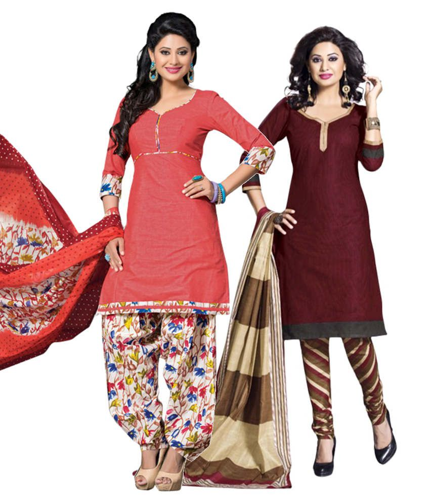 Drapes Combo Of Pink And Maroon Cotton Dress Material