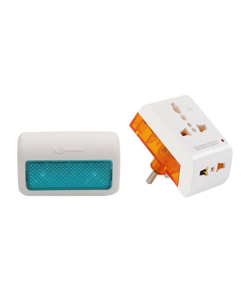 Buy led night lamp online india - Gm 2 Pin Travel Universal Multi Plug And Led Night Lamp Set Of 2