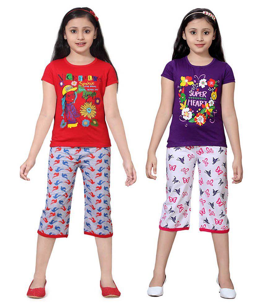 Sini Mini Multicolour Cotton Top & Bottom Pack Of 2